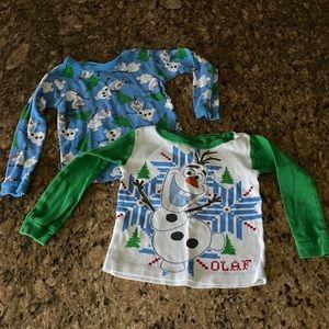 GUC pair of Sz 2T Disney Frozen Olaf shirts
